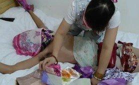 Chinese femdom scarf bondage vibrator